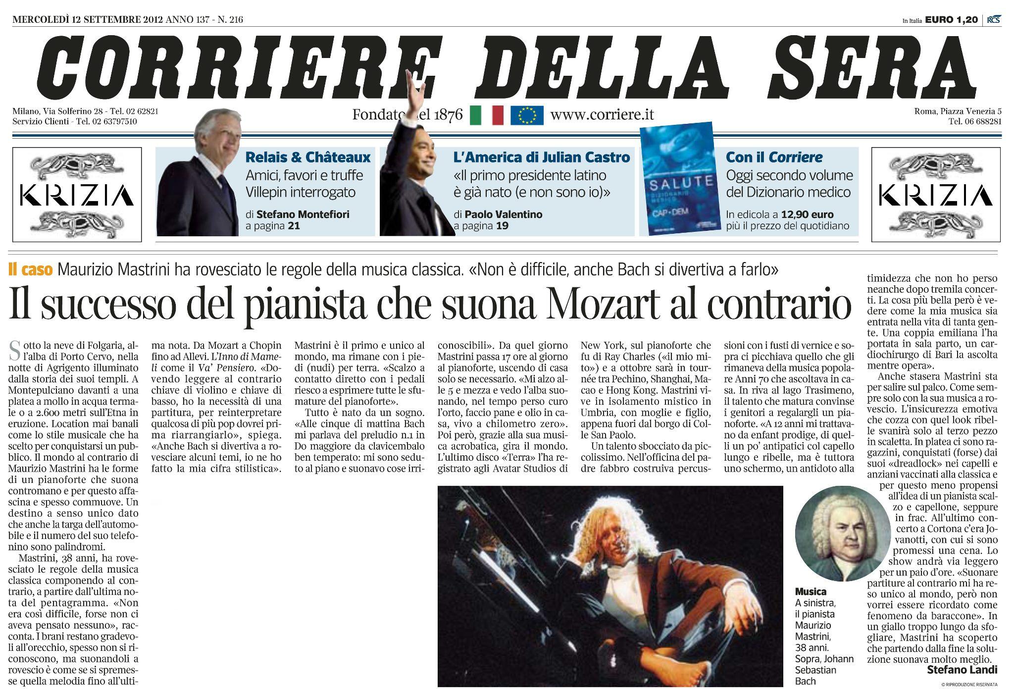 Maurizio mastrini official website for Corriere della sera arredamento