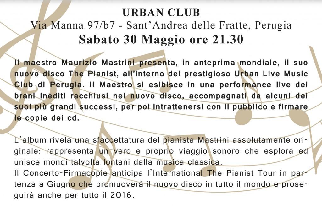 The Pianist - Presentazione del nuovo disco di Maurizio Mastrini all'Urban live music club di Perugia, sabato 30 maggio alle 21:30